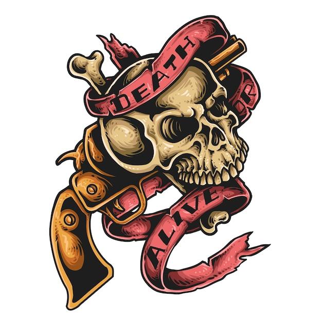 Tatuaje De Calavera Y Pistola Descargar Vectores Premium