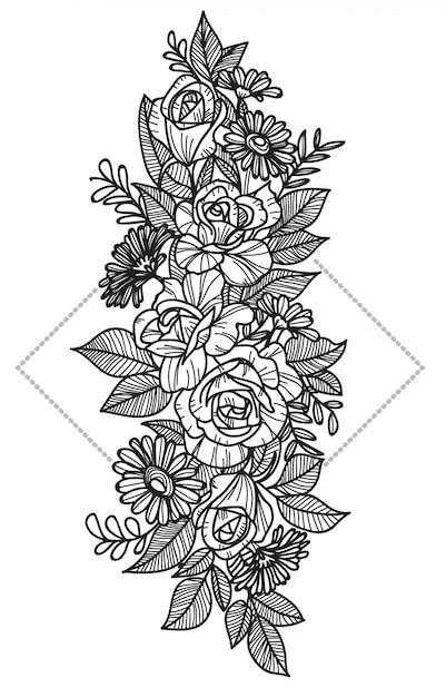 Tatuaje de flores Vector Premium