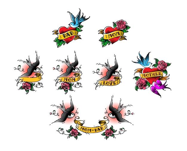 Tatuaje de golondrinas con la inscripción de papá mamá en cinta. ilustracion vectorial Vector Premium