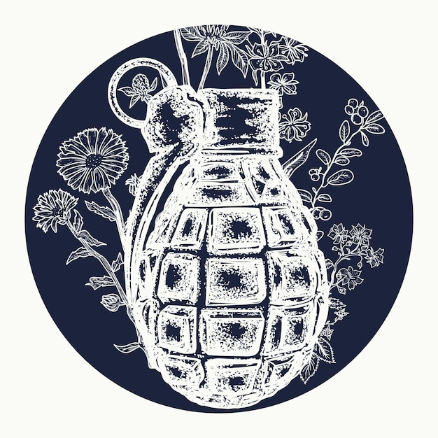 Tatuaje de granada Vector Premium