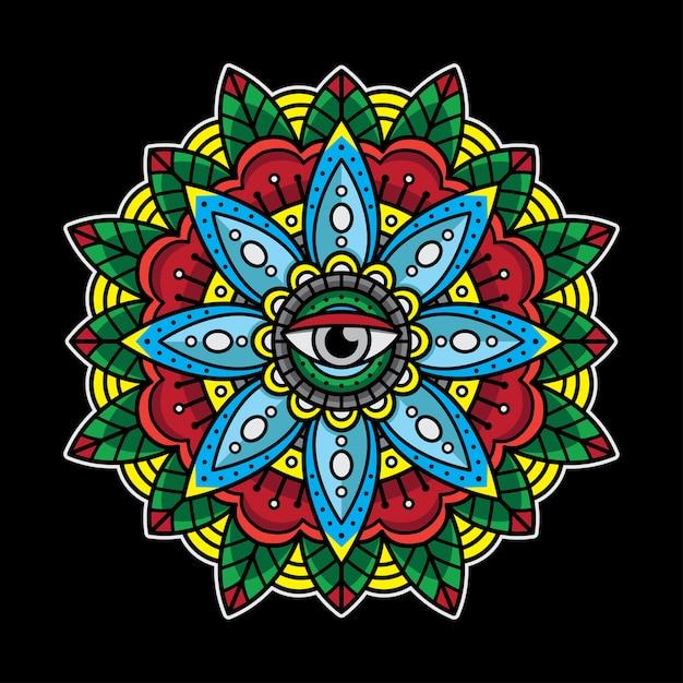 Tatuaje de mandala de ojos tradicional. Vector Premium