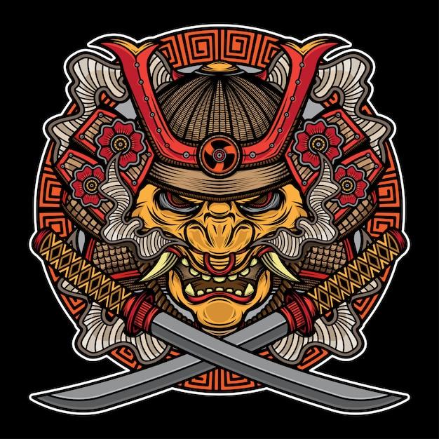 Tatuaje tradicional de máscara de samurai Vector Premium