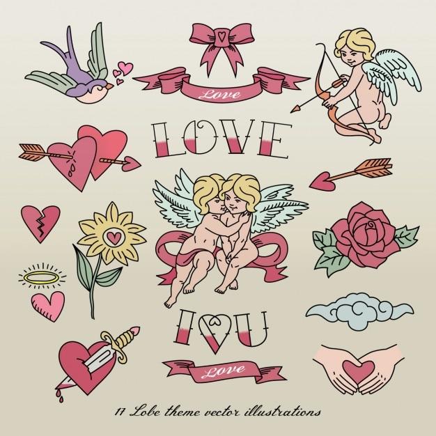 Tatuajes de amor vector gratuito