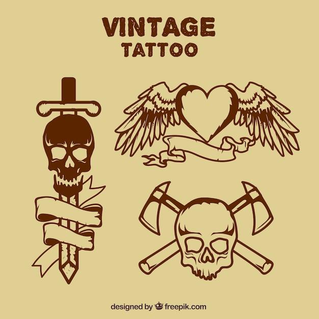 Tatuajes Dibujados A Mano De Calaveras Y Corazón Con Alas