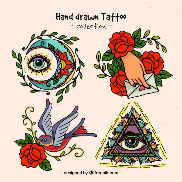 Tatuajes espirituales dibujados a mano vector gratuito