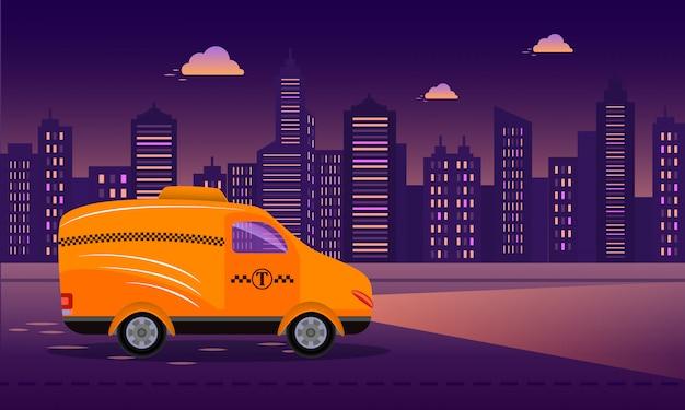 Taxi amarillo en la carretera en el fondo de la ciudad de noche Vector Premium