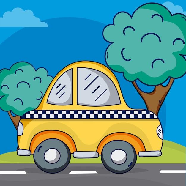 Taxi amarillo en diseño gráfico del ejemplo de la calle del vector Vector Premium