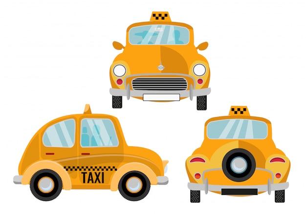 Taxi coche sobre fondo blanco Vector Premium