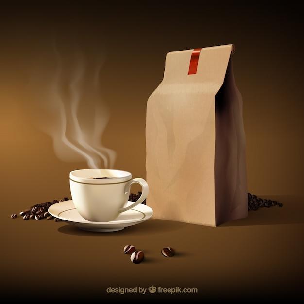 Taza de café caliente con granos de café y bolsa de papel Vector Premium