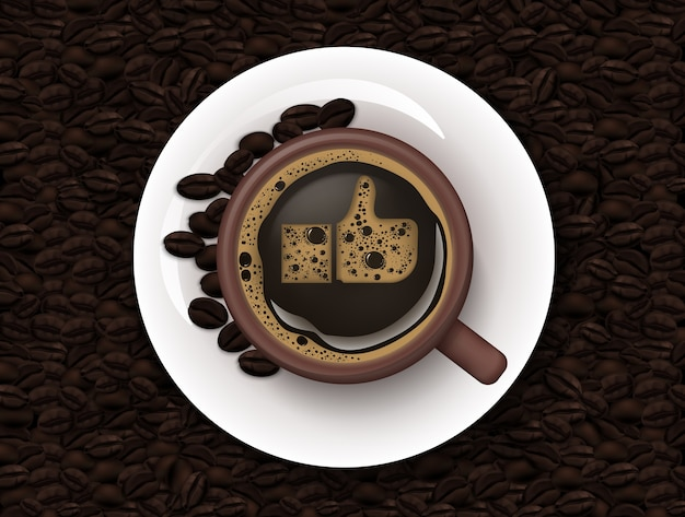 Taza de café y granos de café de fondo Vector Premium