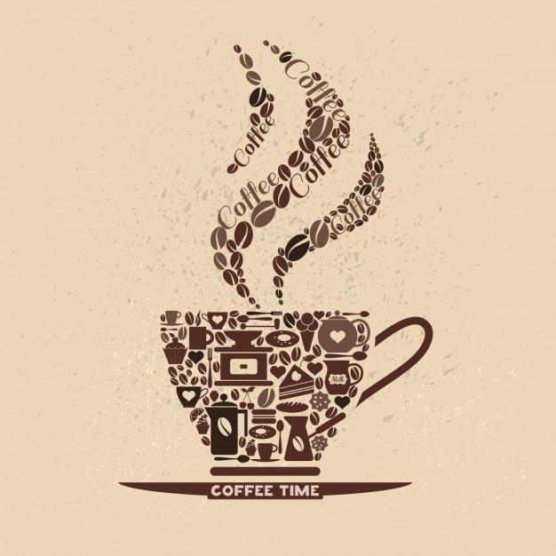 Taza de café hecha de iconos de café vector gratuito