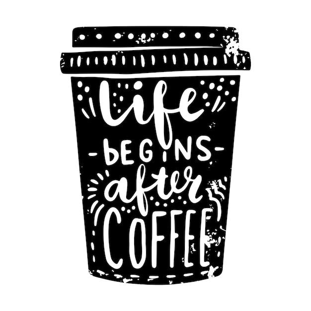 Taza de café con letras Vector Premium