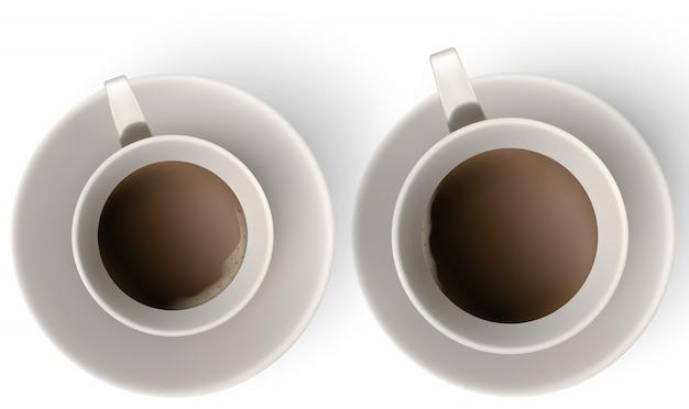 Una taza de café y platillo, vista superior. Vector Premium