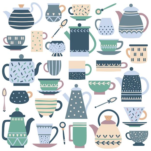 Taza de cocina de cerámica. servicio de té de porcelana, tetera china y platos de platos. Vector Premium