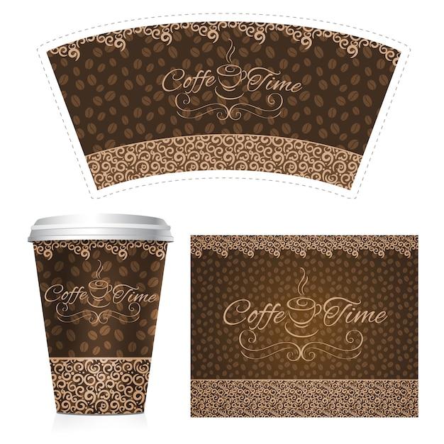 Taza de papel de café vector gratuito
