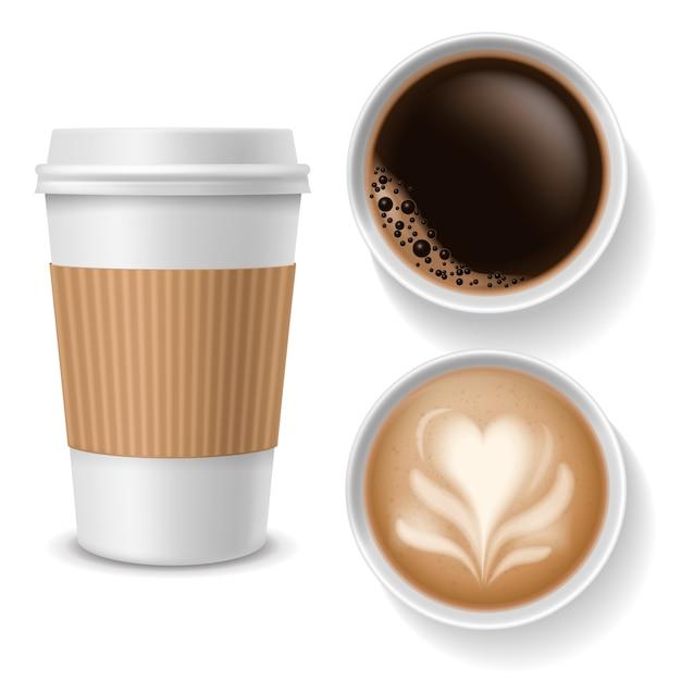 Tazas de café para llevar. vista superior de bebidas en papel blanco, taza de café marrón con capuchino americano espresso latte. vector realista Vector Premium