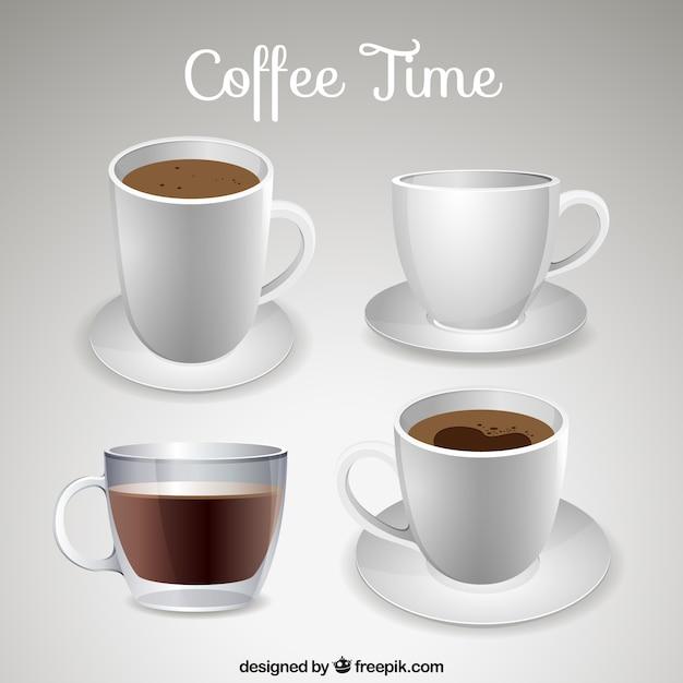 Tazas de caf realistas descargar vectores gratis for Tazas cafeteria