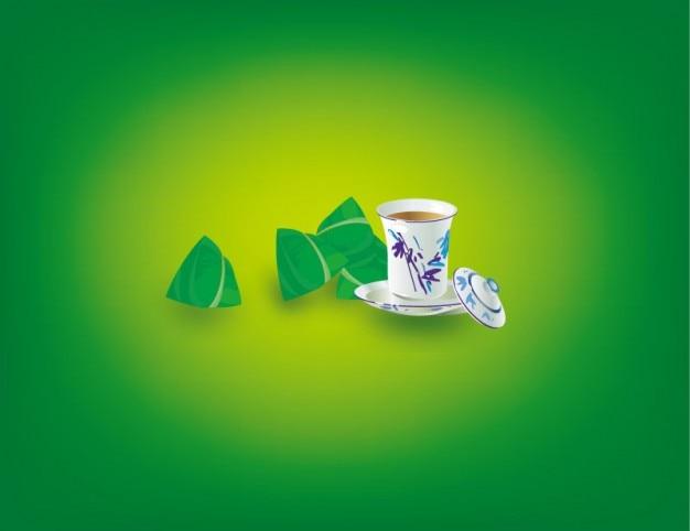 Tazas de t chino con alb ndigas vector descargar for Tazas para te