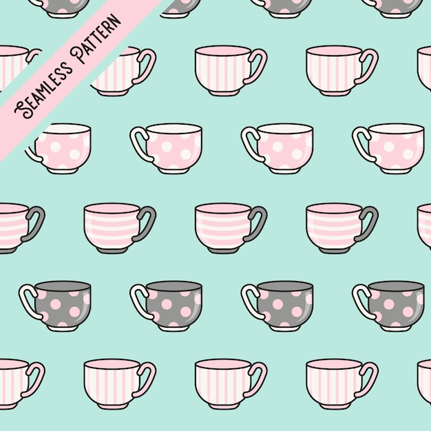 Tazas de té kawaii lindo de patrones sin fisuras Vector Premium