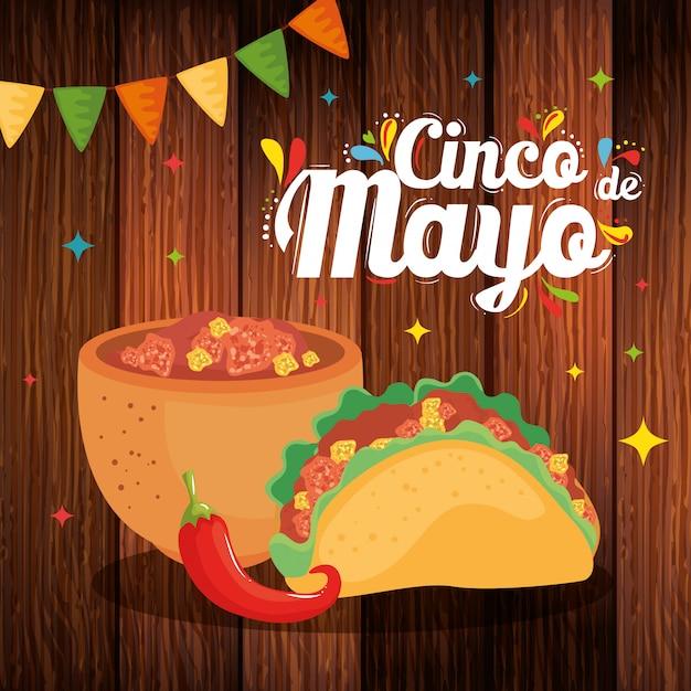 Tazón mexicano taco y chile de cinco de mayo Vector Premium