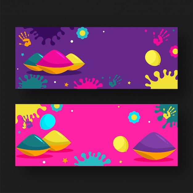 Tazones de colores con globos, estampados a mano, efecto de salpicaduras de flores y colores en el conjunto de pancartas púrpura y rosa Vector Premium