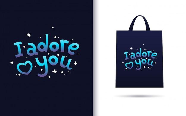 Te adoro letras con merchandising Vector Premium