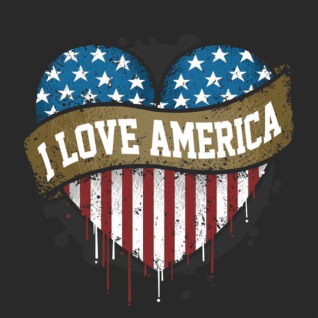Te amo bandera de america usa con vector de ilustraciones grunge Vector Premium