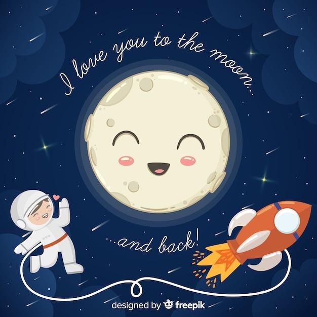 Te amo hasta la luna y la ilustración de vuelta Vector Premium