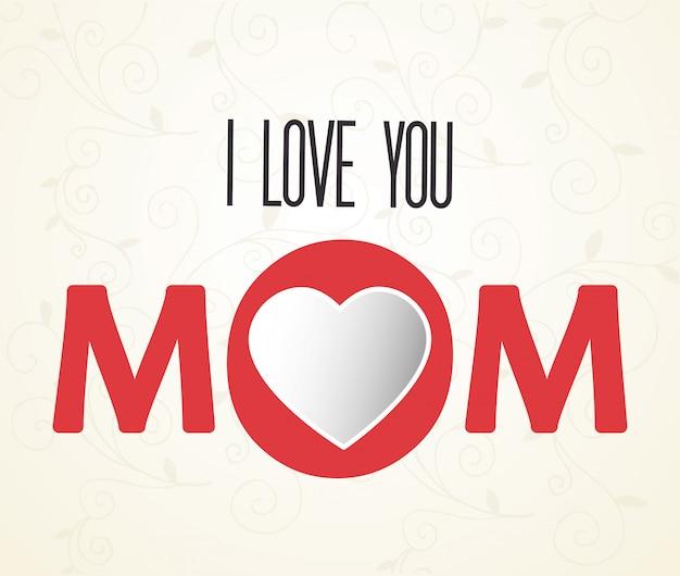 Te Amo Mama Letras Vector Gratis