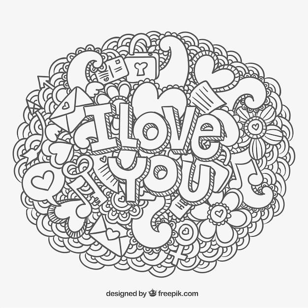 Mi amor coloring pages ~ Te amo mensaje y garabatos   Vector Gratis