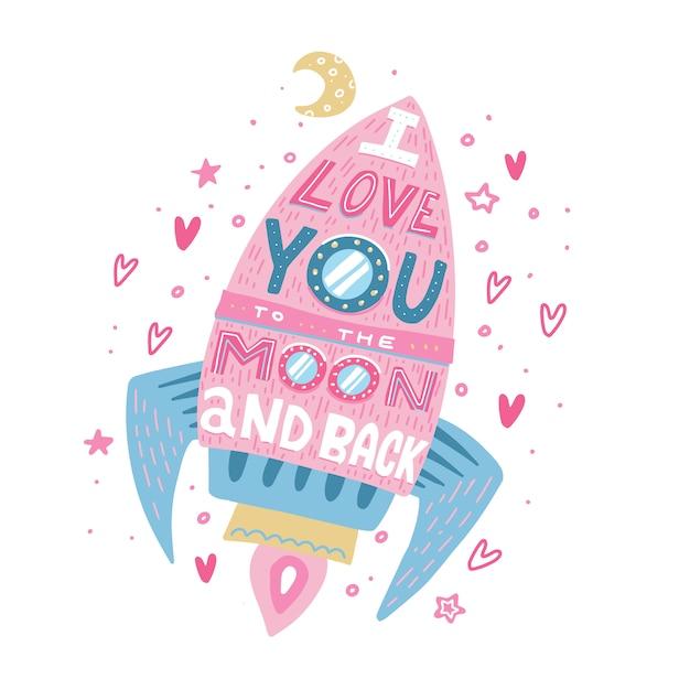 Te quiero hasta la luna y más allá. cartel dibujado a mano con una cita romántica, corazones y estrellas. Vector Premium