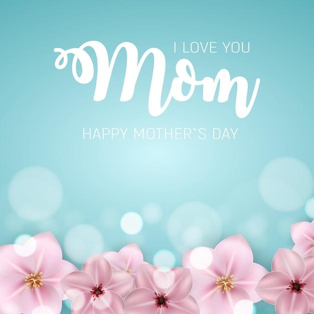 Te quiero, mamá. feliz dia de la madre con flores. Vector Premium