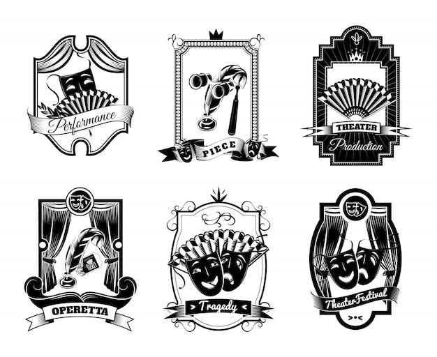 Teatro negro blanco emblemas conjunto Vector Premium
