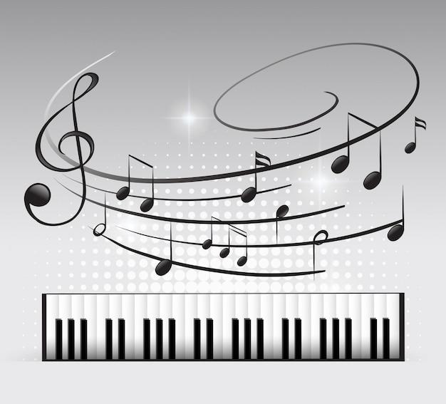 Teclado musical y nota vector gratuito