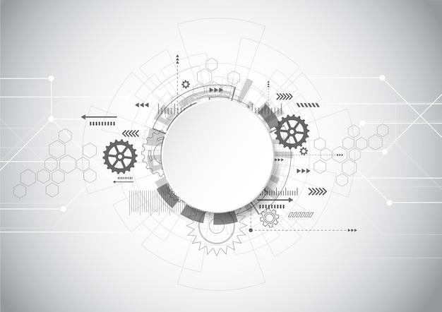 Tecnología abstracta fondo geométrico gris Vector Premium