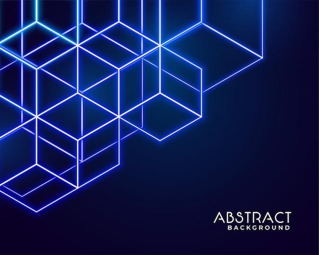 Tecnología abstracta de formas de neón hexagonales vector gratuito