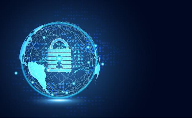 Tecnología abstracta mundo enlace digital seguridad cibernética Vector Premium