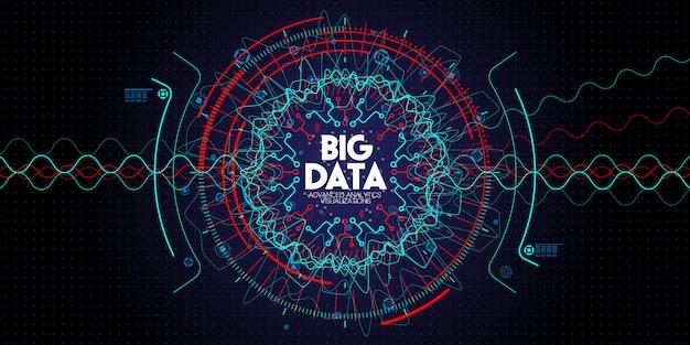 Tecnología avanzada de datos grandes y visualización con elementos fractal con líneas y puntos en la oscuridad Vector Premium