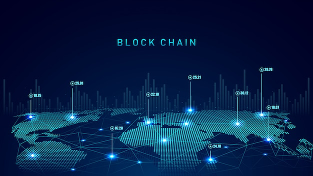 Tecnología blockchain con concepto de conexión global. Vector Premium