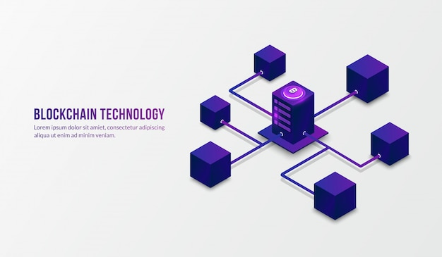 Tecnología de blockchain isométrica y concepto de big data Vector Premium