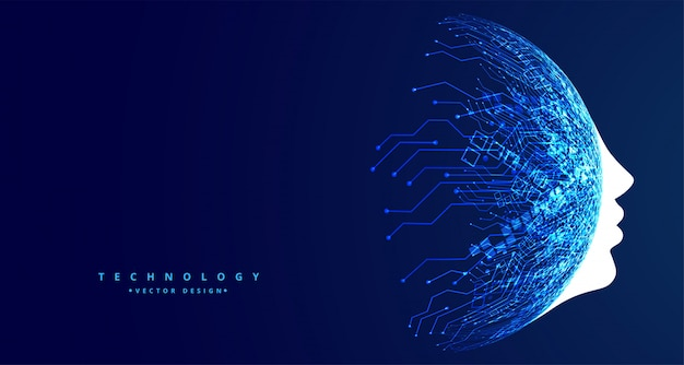 Tecnología cara concepto futurista inteligencia artificial diseño vector gratuito