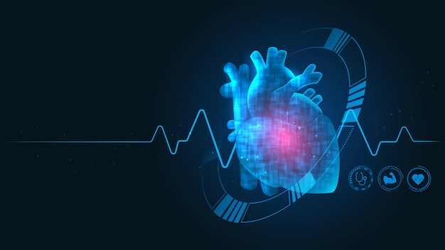 Tecnología de cardiología Vector Premium