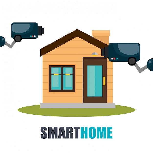 Tecnologia de casa inteligente con camara cctv vector gratuito