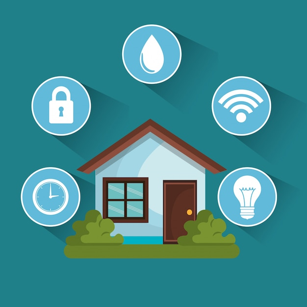 Tecnología de casa inteligente establece iconos vector gratuito