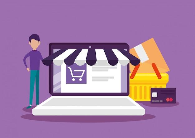 Tecnología de comercio electrónico portátil con sitio web y cesta vector gratuito