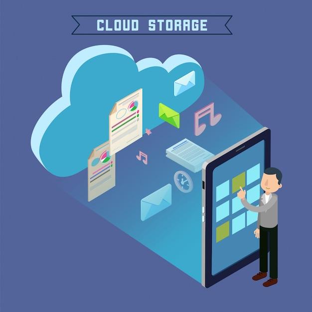 Tecnología de computación isométrica de almacenamiento en la nube Vector Premium