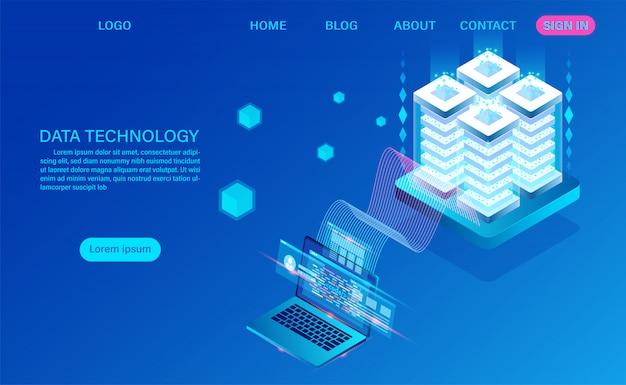 Tecnología de datos y página de aterrizaje isométrica de procesamiento de big data Vector Premium