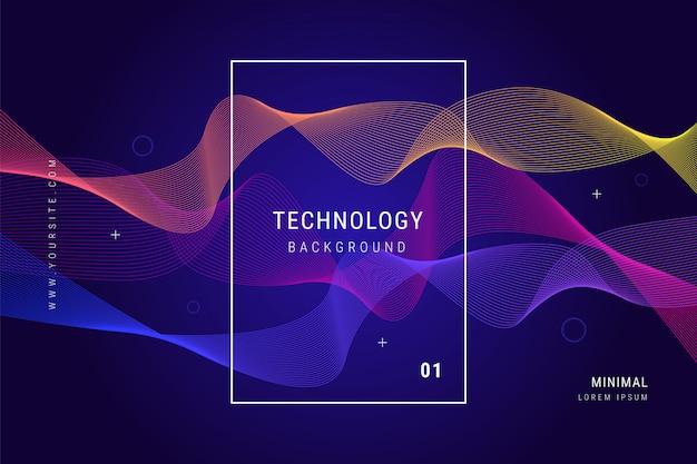 Tecnología digital líneas de onda malla fondo geométrico vector gratuito