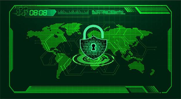 Tecnología futura de la placa de circuito binario, fondo de seguridad cibernética del mundo verde hud, Vector Premium