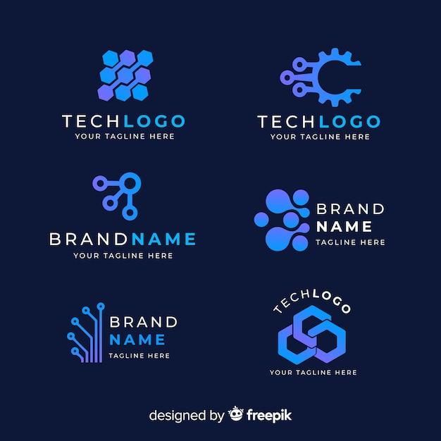 Tecnología de gradiente colección logo azul. vector gratuito